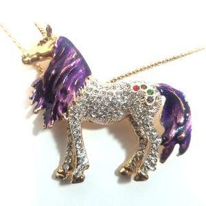 Betsey Johnson Unicorn Pendant/Brooche Necklace